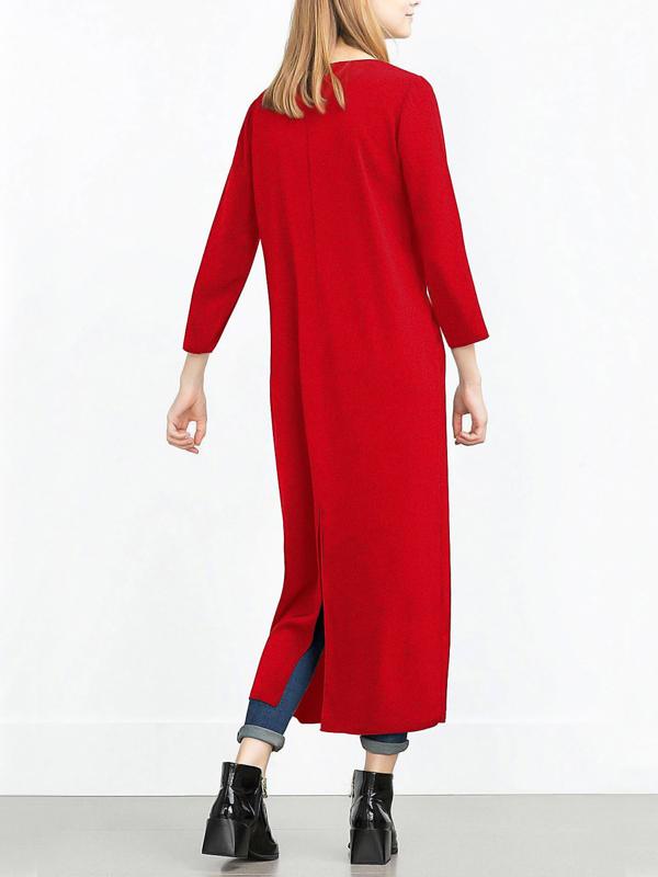 Moda V cuello manga larga cremallera diseño rojo vino pandex abrigo largo
