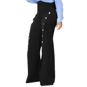 Polyester Solid Zipper Fly High Pantalons Pantalons