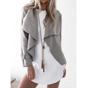 Polyester Turndown Collar Long Sleeve Regular Coat