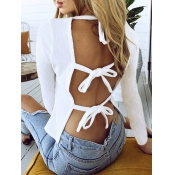 Sexy Round Neck Backless White Cotton Shirts