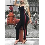 Leisure V Neck Patchwork Black Cotton Blends One-piece Skinny Jumpsuits