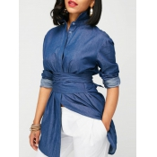 Trendy Mandarin Collar Long Sleeves Bandage Blue Denim Shirts