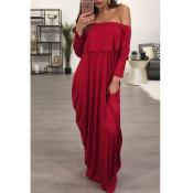 Fashion Dew Shoulder Falbala Design Wine Red Cotton Blend Ankle Length Dress