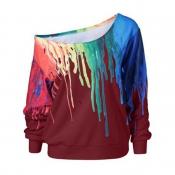 Ocio Uno-hombro rojo asimétrico mezclas de algodón suéteres