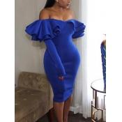 Sexy Falbala Design Royalblue Polyester Gaine Robe mi-mollet
