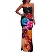Trendy Dew Shoulder Floral Print Black Polyester Sheath Ankle Length Dress