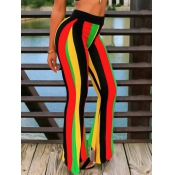 Leisure High Waist Rainbow Striped Patchwork Polye