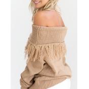 Trendy Dew Shoulder Long Sleeves Light Tan Cotton