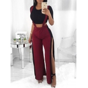 Trendy High Waist Patchwork Hollow-out Wine Red Po