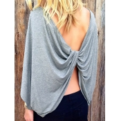 Leisure Round Neck Backless Grey Polyester T-shirt