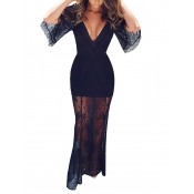 Sexy V Neck See-Through Black Lace Ankle Length Dress(Without Lining)