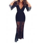 Сексуальное V-образное вышитое Черное платье с длинным лодыжком (без подкладки)