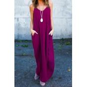 Casual V cuello mezcla de algodón mezcla de color púrpura de algodón vestido de longitud de tobillo (sin accesorios)