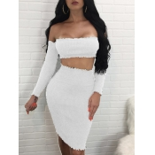 Sexy Dew Shoulder White Cotton Blend Two-piece Skirt Set