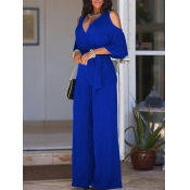 Euramerican Hollow-out Royalblue Polyester One-piece Jumpsuits