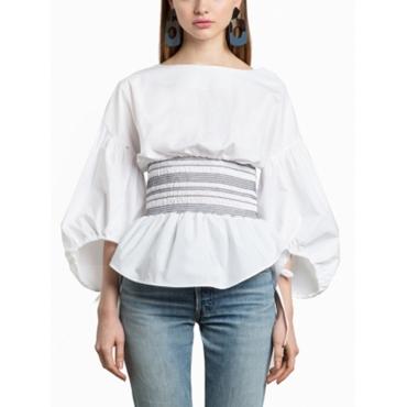 Stylish Round Neck Zipper Design White Cotton Shirts