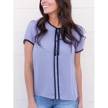 Euramerican Round Neck Short Sleeves Patchwork Light Purple Polyester Shirts