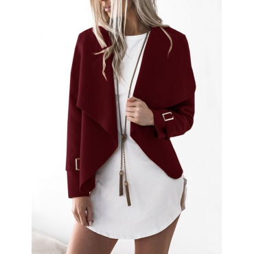 Euramerican Turndown Collar Long Sleeves Asymmetrical Wine Red Polyester Jacket