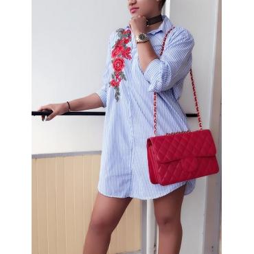 Fashion Turndown Collar  Long Sleeves Embroidered Design Blue Cotton Blend Mini Dress