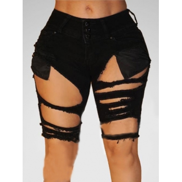 Trendy High Waist Broken Holes Black Cotton Blends Shorts
