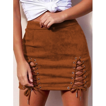 Stylish Mid Waist Lace-up Hollow-out Brown Polyester Mini Skirts