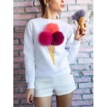 Leisure Round Neck Maomao Ball Decorative White Cotton Blends Pullovers