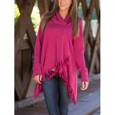 Trendy Turndown Collar Long Sleeves Asymmetrical Rose Red Cotton Cardigans