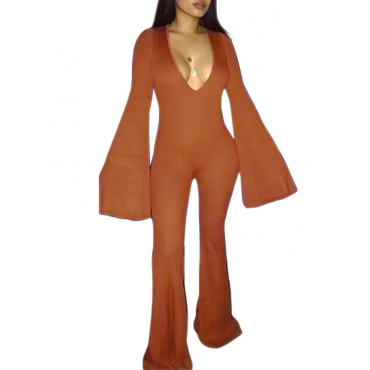 Polyester Solid Straight Jumpsuits