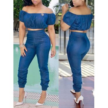 Ensemble de pantalons en dos en denim bleu