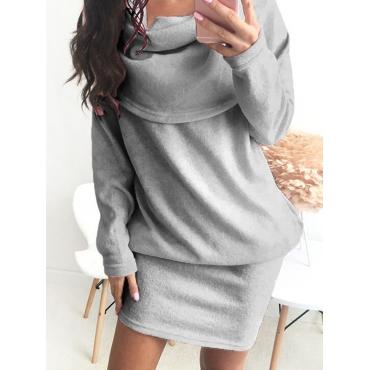 Leisure Heaps Collar Long Sleeves Grey Cotton Blend Mini Dress
