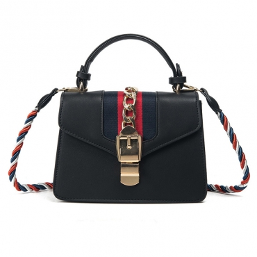 Fashion Patchwork Black PU Crossbody Bag