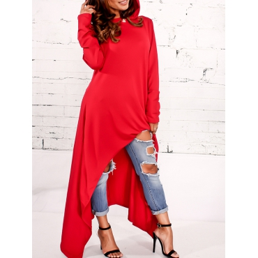 Leisure Round Neck Long Sleeves Red Cotton Blends Pullovers