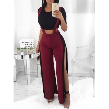 Trendy High Waist Patchwork Hollow-out Wine Red Polyester Pants
