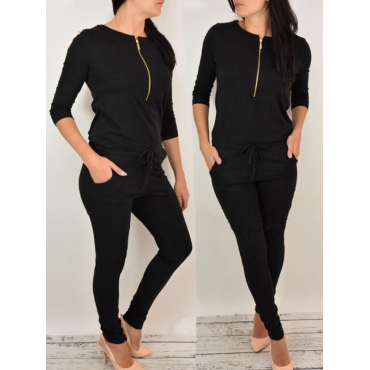 Leisure Round Neck Zipper Design Black Cotton Blends One-piece Jumpsuits