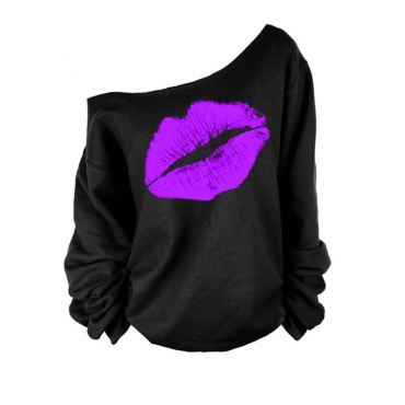 Leisure Dew Shoulder Lip Printing Purple Blending Pullovers