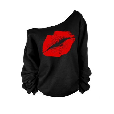 Leisure Dew Shoulder Sweatshirt Hoodie Red Lip Print Lovely Black Size S To XXXXL