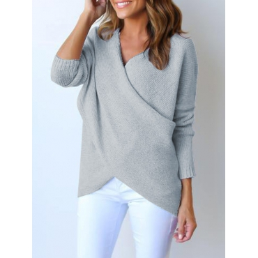 Lovely Euramerican V Neck Long Sleeves Asymmetrical Grey Cotton Sweaters