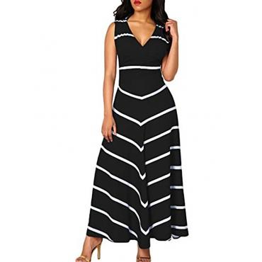 Polyester Fashion V Neck  Sleeveless Waist skirt Ankle Length Dresses