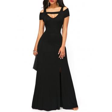 Polyester Fashion V Neck  Short Sleeve  Ankle Length Dresses
