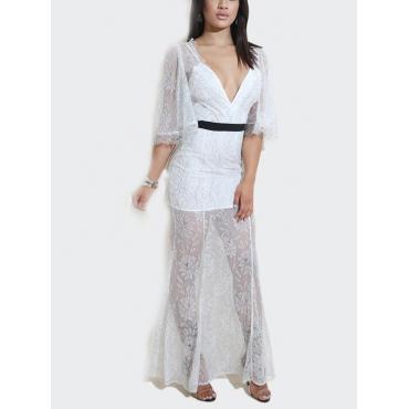 Сексуальная V шеи Прозрачный Белый Кружева Длина до лодыжки платье(без подкладки)