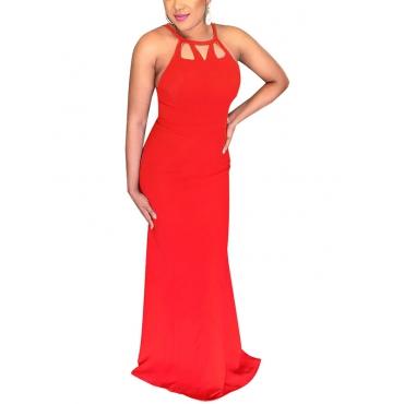 Платье с длинным вырезом из красного полиэстера