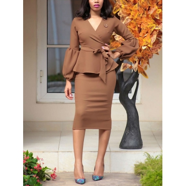 Fashion V Neck  Long Sleeves Yellow Polyester Sheath Mid Calf Dress