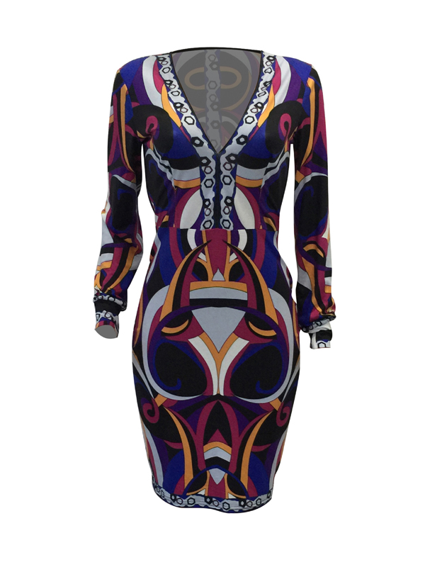 Euramerican V Neck Long Sleeves Printed Purple Polyester Knee Length Dress(Without Belt)