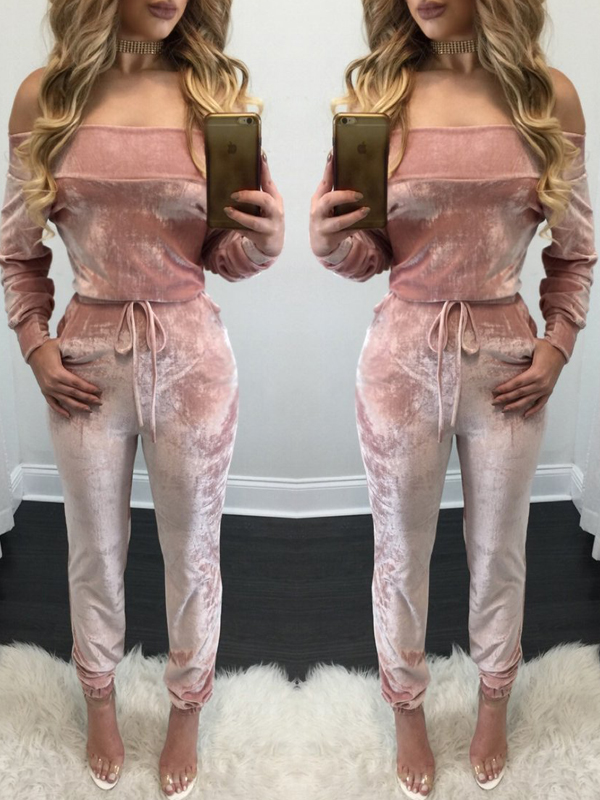 Euramerican Dew Shoulder Pink Velvet One-piece Jumpsuits