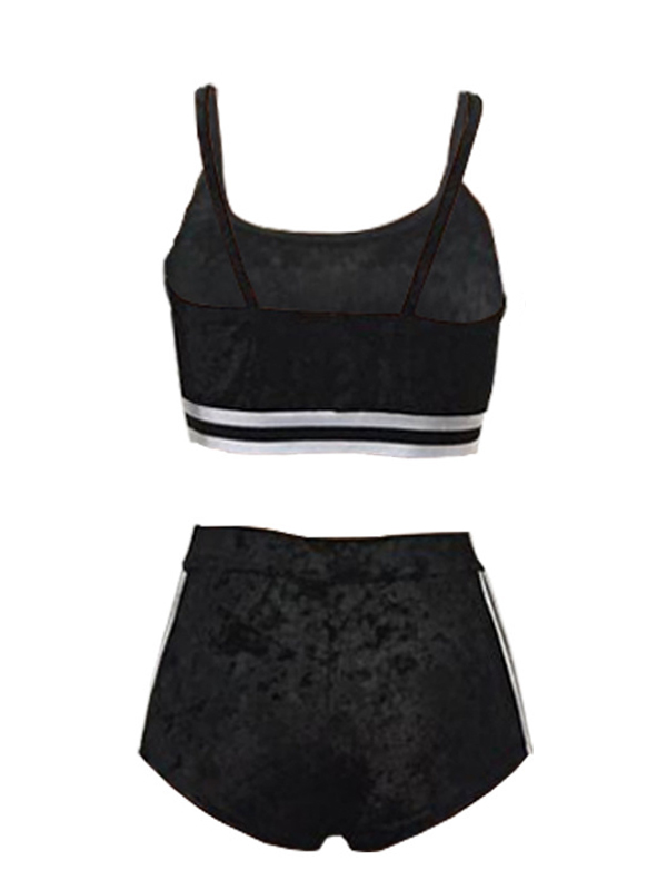 Sexy U-shaped Neck Patchwork Black Velvet Two-piece Shorts Set