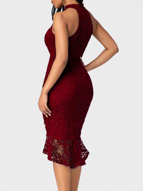 Trendy cuello redondo de encaje recorte de remiendo vino rojo vaina medio vestido de ternero