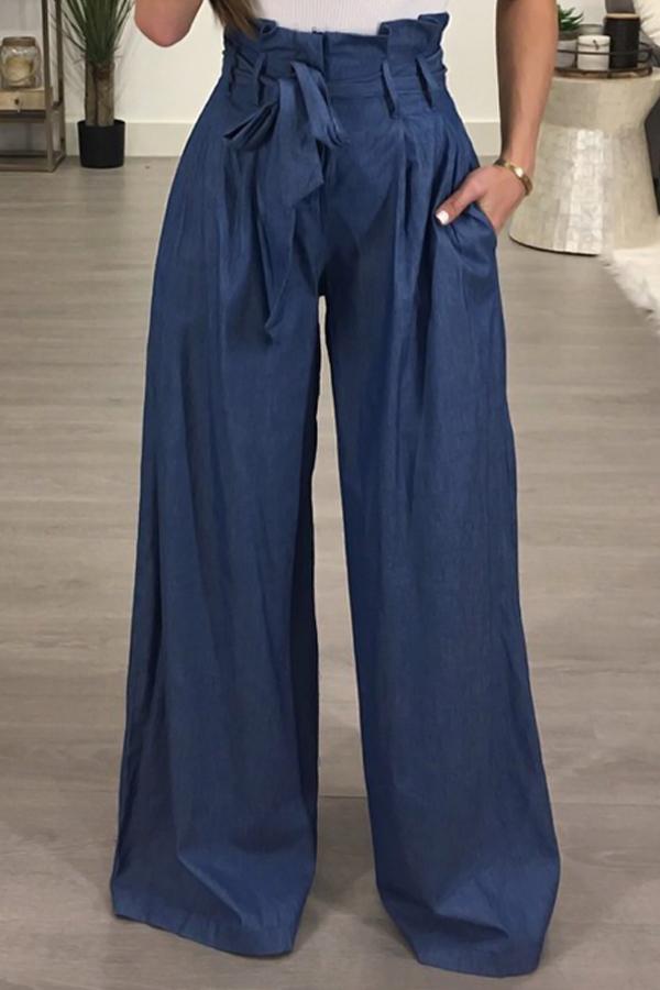 Stylish High Waist Drawstring Ligh Blue Cotton Pants