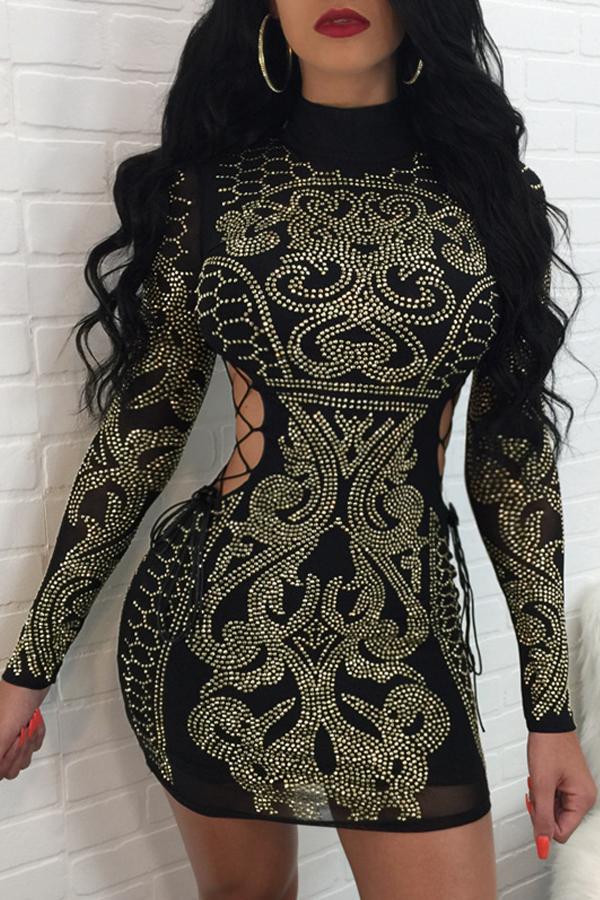 Sexy Hollow-heraus Rhinestone-dekoratives schwarzes Polyester-Minikleid