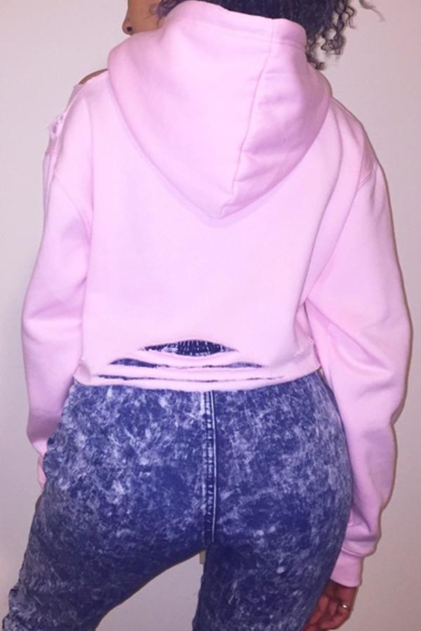 Freizeit Lange Ärmel bedruckt Hohl-out Pink Cotton Blends Hoodies