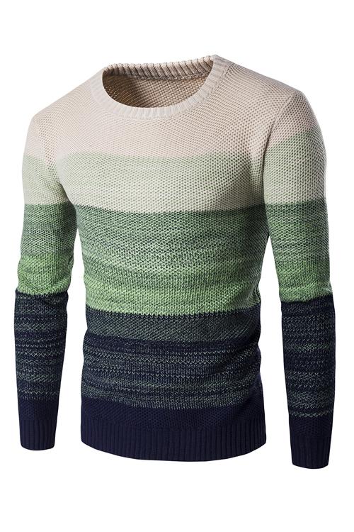 Euramerican Round Neck Patchwork Green Acrylic Sweater for men